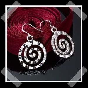 Stunning Sterling Silver Spiral Dangling Earrings